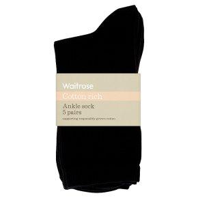 Waitrose Womens Black Ankle Socks