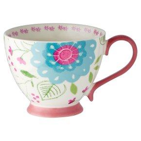 Waitrose Floral Footed Pink Mug