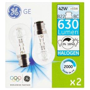 GE halogen 630 lumen round 42W B22 BC