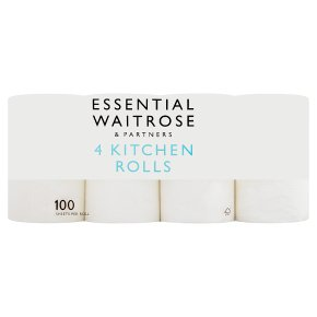 Essential 4 Kitchen Towels Extra Length Rolls