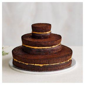 Naked Chocolate 3 tier Wedding Cake, Chocolate Sponge (3 tiers)