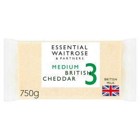 essential Waitrose English medium Cheddar cheese, strength 3