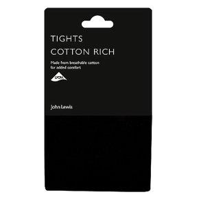 John Lewis Soft Cotton Opaque Black Tights - 100 Denier - Medium