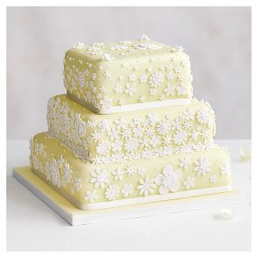 Blossom 3 Tier Pastel Yellow Wedding Cake, Fruit (Base tier) & Chocolate Salted Caramel (top 2 tiers)