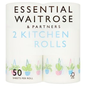 essential Waitrose 2 Kitchen Towels Decorated