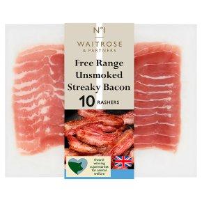 Waitrose 1 free range unsmoked streaky bacon, 10 rashers