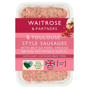 Waitrose 6 British Toulouse sausages with bacon, red wine & garlic