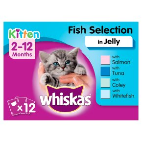 WHISKAS 2-12 Months Kitten Pouches Fish Selection in Jelly 12 x 100g