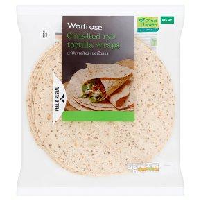 Waitrose 6 Malted Rye Tortilla Wraps
