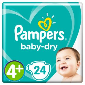 Pampers Baby Dry Sze 4+ Carry 24 Nappies