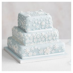 Blossom 3 Tier Pastel Blue Wedding Cake, Golden Sponge (all tiers)