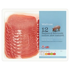 British unsmoked back bacon, 12 rashers