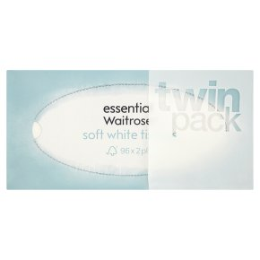 essential Waitrose soft white tissues, twin pack