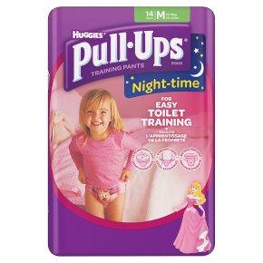 Huggies Pull Ups Nightime Potty Training Pants, Girl, Medium 11-18kg