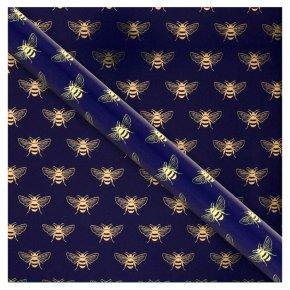 Waitrose Gift Wrap Navy/Gold Bees
