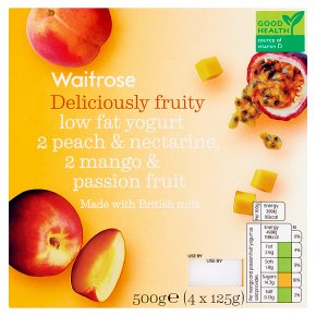 Waitrose 4 deliciously fruity peach / mango low fat yogurts