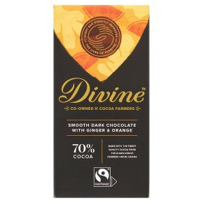 Divine Fairtrade 70% Dark Chocolate with Ginger & Orange