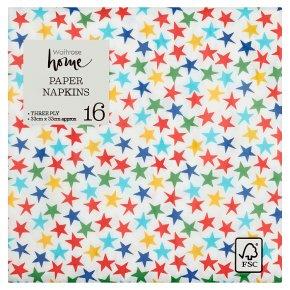 Waitrose Home Multi Star Napkin 33cm x 33cm