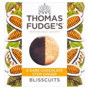 Thomas.J.Fudge's ginger blisscuits in dark chocolate