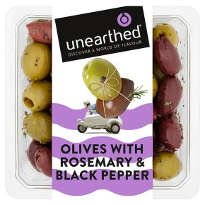Unearthed black pepper and rosemary olives