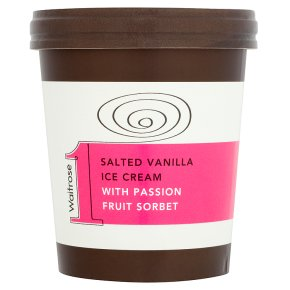 Waitrose 1 salted vanilla ice cream with passion fruit sorbet