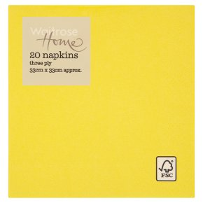 Waitrose Home Yellow Napkins 33cm x 33cm