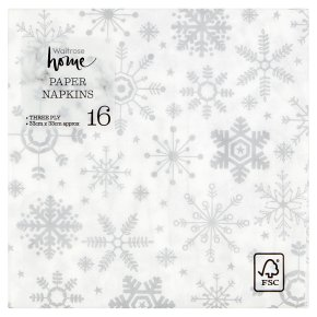 Waitrose Christmas Snowflake Napkins 33cm x 33cm