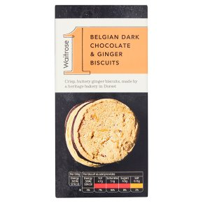 Waitrose 1 Belgian dark chocolate and ginger biscuits