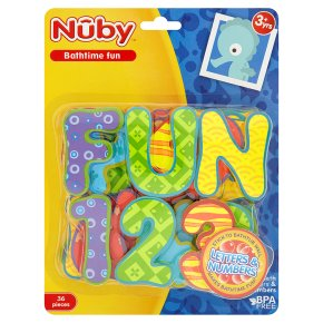 Nuby bath letters & numbers, pack of 36