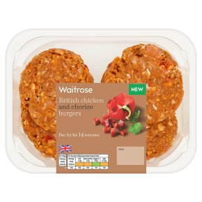 Waitrose 4 British Chicken and Chorizo Burgers