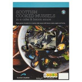 Scottish Shellfish Scottish Mussels in Cider & Bacon Sauce