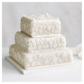 Blossom 3 Tier Ivory Wedding Cake, Fruit (Base tier) & Lemon Sponge (top 2 tiers)