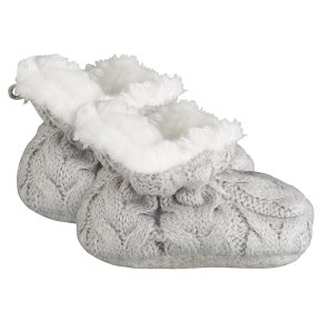 Waitrose Knitted Grey Booties 3-6M
