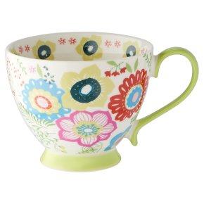 Waitrose Floral Footed Green Mug