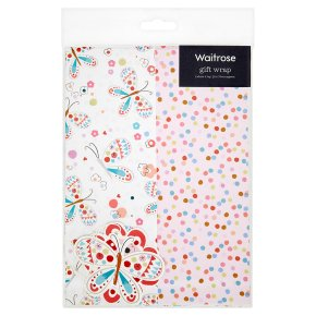Waitrose butterflies & spot giftwrap, pack of 2 sheets and 2 tags