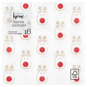Waitrose Christmas Reindeer Napkins 33cm x 33cm