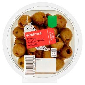 Waitrose Olives, Ancho Chilli, Orange