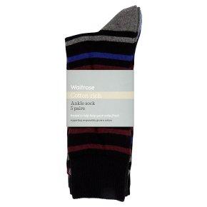 Waitrose C'Rich Stripe Spot Ankle Socks