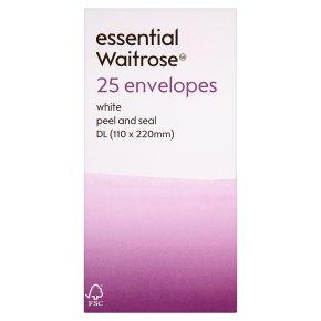 essential Waitrose 110x220mm DL white wnvelopes, pack of 25
