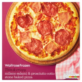 Waitrose stone baked pizza Milano salami & prosciutto cotto