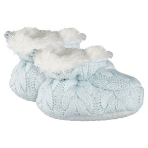 Waitrose Knitted Blue Baby Booties 3-6M