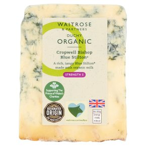 Waitrose Duchy Organic Cropwell Bishop Blue Stilton cheese, strength 5