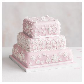 Blossom 3 Tier Pastel Pink Wedding Cake,  Fruit (all tiers)