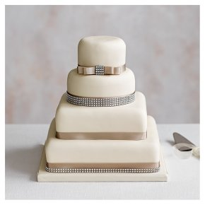 Diamante 4 Tier Ivory Wedding Cake,, Fruit (base) & Golden Sponge (3 tiers)