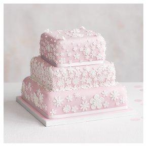Blossom 3 Tier Pastel Pink Wedding Cake Fruit Base Tier Golden