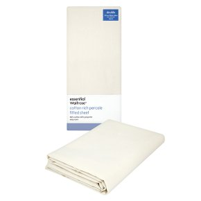 essential Waitrose double cream fitted sheet