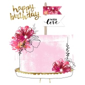 Greeting cards waitrose floral cake happy birthday card m4hsunfo