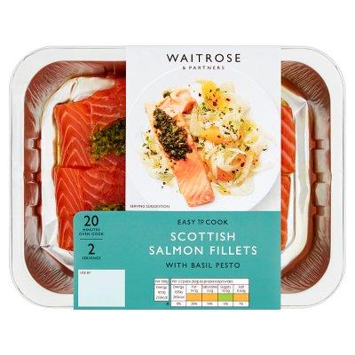 Waitrose Easy To Cook salmon fillets with pesto