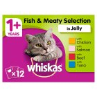 WHISKAS 1+ Cat Pouches Meaty Selection in Jelly 12 x 100g - 12x100g