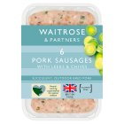 Waitrose 6 British pork sausages with fresh leeks & chives - 400g